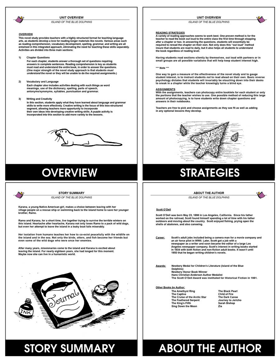 worksheet Island Of The Blue Dolphins Worksheets island of the blue dolphins novel study grades 5 to 6 print gr print