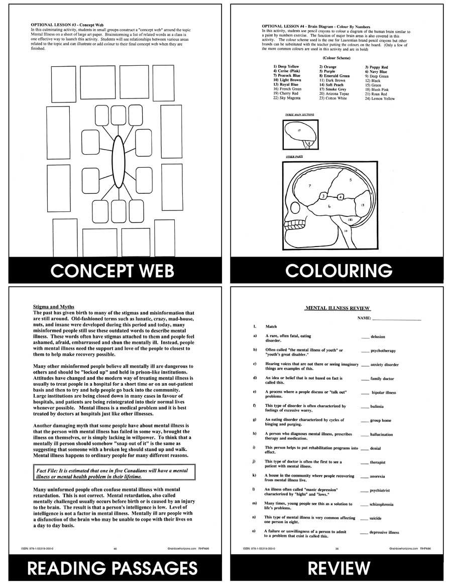 Mental Illness - Grades 6 to 9 - Print Book - Lesson Plan ...