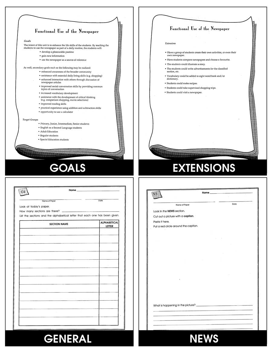 FUNCTIONAL USE OF THE NEWSPAPER - Grades 3+ - eBook - Lesson
