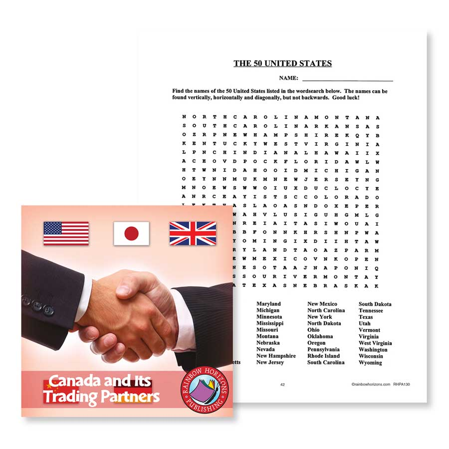 Canada And Its Trading Partners: The 50 United States Word Search Gr. 4-6 - WORKSHEET - eBook