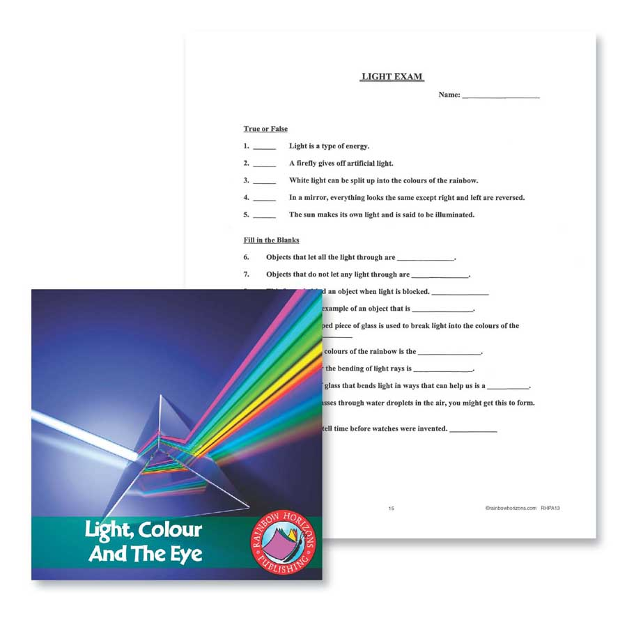 Light, Colour and the Eye: Exam Gr. 4-6 - WORKSHEET - eBook