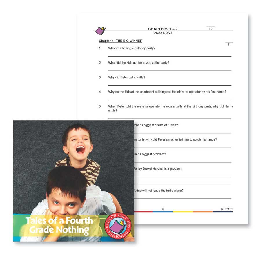 Tales of a Fourth Grade Nothing: Chapter 1 Questions Gr. 4-7 - WORKSHEET - eBook
