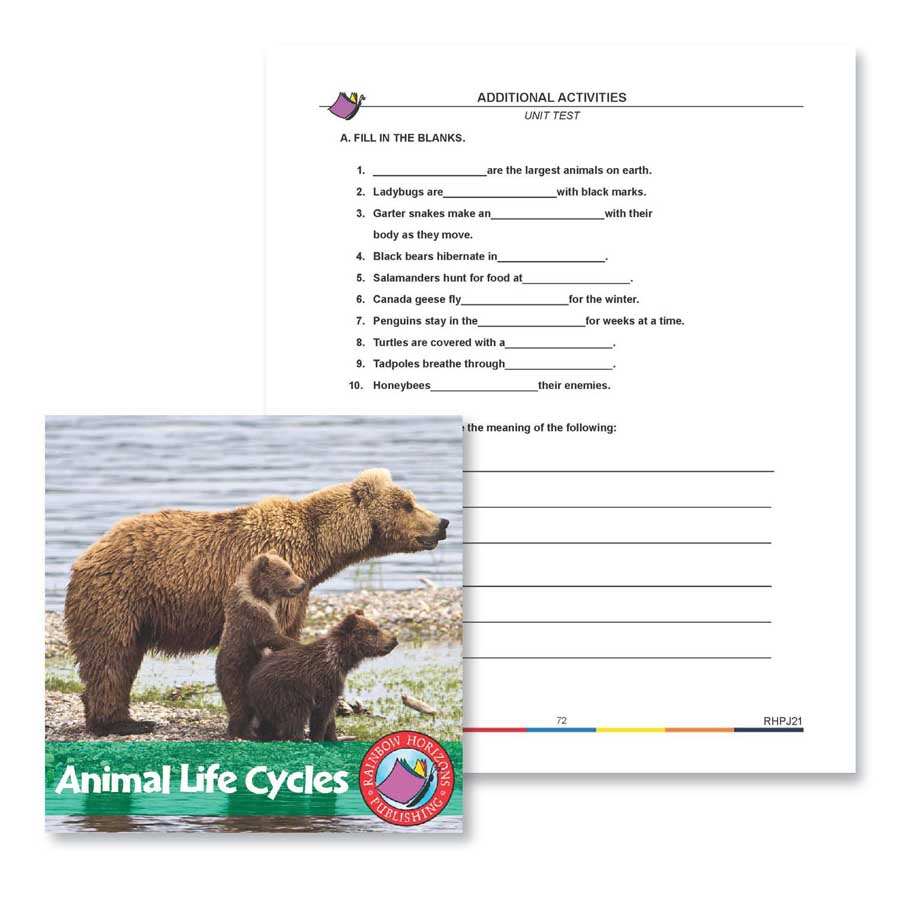 Animal Life Cycles: Unit Test Gr. 2-3 - WORKSHEET - eBook