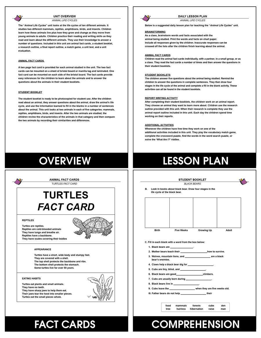 Animal Life Cycles - Grades 2 to 3 - eBook - Lesson Plan
