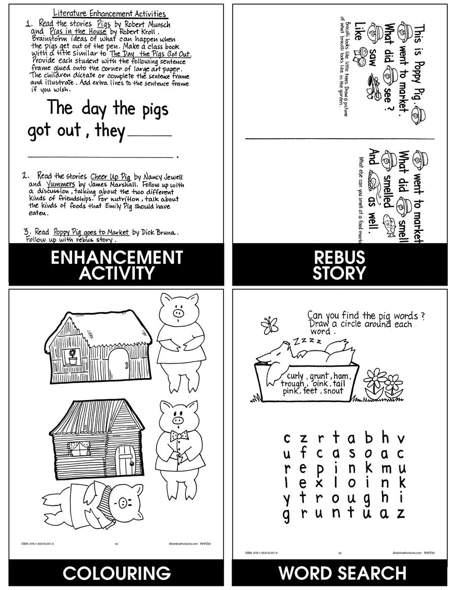 Pigs - Grades K to 2 - eBook - Lesson Plan - Rainbow Horizons